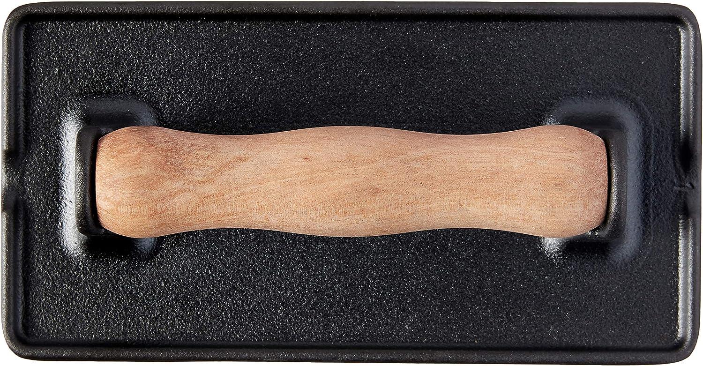 Burger Grill Press Seasoned with 100/% Kosher Certified Non-GMO Flaxseed Oil 8.3 x 4.4 Inch Black Victoria Cast Iron Panini Bacon