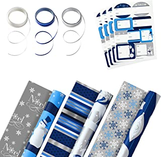 Hallmark Reversible Holiday Wrapping Paper Set (3 Rolls of Wrapping Paper with Ribbon and Gift Tag Stickers) Blue and Silv...