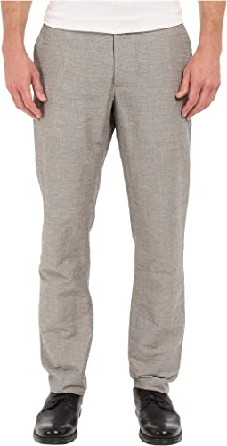 Slim Fit Linen Cotton End on End Flat Front Pants