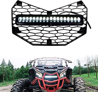 Front Grille for X3, SAUTVS Premium Front Mesh Grill with LED Light Bar for Can-Am Maverick X3 Accessories