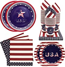 Pandecor 4th of July Party Bundle -Serves 30- 120 PCS Party Supplies Package Includes USA Dinner Paper Plates,Dessert Pape...