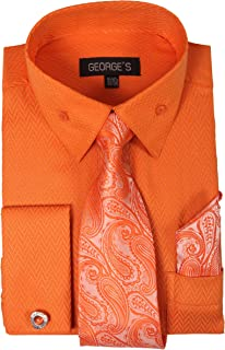 George's Unique Fabric Dress Shirts w/Matching Tie,Hankie,Cuff & Cufflink AH619
