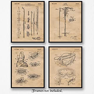 Original Ski Equipments Patent Poster Prints, Set of 4 (8x10) Unframed Photos, Wall Art Decor Gifts Under 20 for Home, Office, Man Cave, College Student, Teacher, Coach, Winter X-Games & Snow Fan