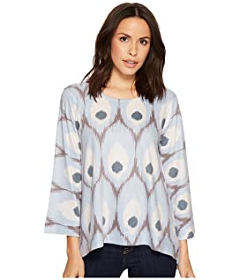 Blue Feather Print Top
