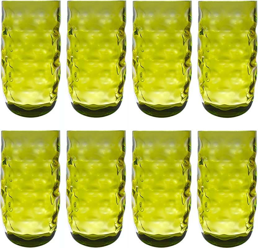 QG Clear Colorful Acrylic Plastic 23 Oz Water Cup Drinking Glass Tumbler Set Of 8 Green