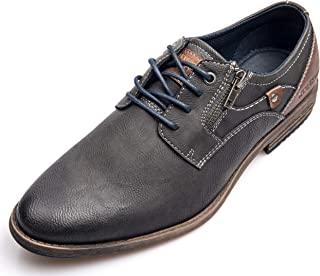 XPER Men's Oxford Fashion Shoes Casual Breathable Footwear Lace up Round Toe Brown Shoes Business Dress Shoes for Men Big Size 7-15
