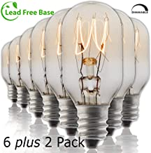 Salt Rock Lamp Bulb 6 Pack + 2 Free 15 Watt Replacement Bulbs for Himalayan Salt Lamps & Baskets, Scentsy Plug-in & Wax Warmers, Night Lights. Incandescent T20 E12 Socket with Candelabra Base, Clear