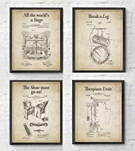 Theatre Wall Patent Art Prints with Slogans, Set of 4, Unframed, Drama Gift, Vintage Stage Pulley Spotlight Seat Theater Gift, 8x10 Inches
