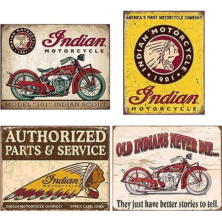 Cdecor Indian Motorcycle Blechschilder Metall Poster Retro Warnschild Schilder Blech Blechschild Malerei Wanddekoration Bar Geschäft Cafe Garage Küche Haushalt