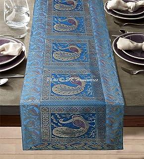 DK Homewares Traditionnel Décor De Table 40 X 150 Cm Nappe De Table Brocart Turquoise Jacquard Rectangle 5 Ft Chemin De Ta...
