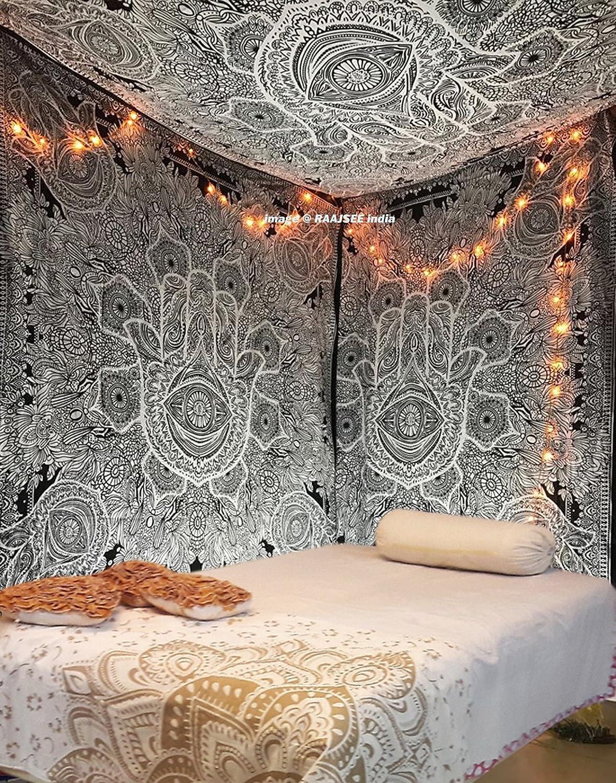 nero e grigio stile hippie e bohemien dimensioni Esclusivo arazzo con mano di Fatima simbolo di buon auspicio ideale come decorazione artistica da parete e copriletto colore: bianco Raajsee