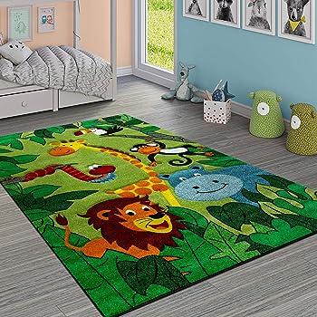 Paco Home Tappeto per Bambini Giungla con Animali Verde, Dimensione:160x230 cm