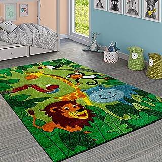 Paco Home Tapis pour Enfant Jungle Animaux Vert, Dimension:80x150 cm
