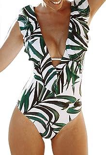 Women One Piece Swimsuit V-Neck Ruffle Bathing Suit...