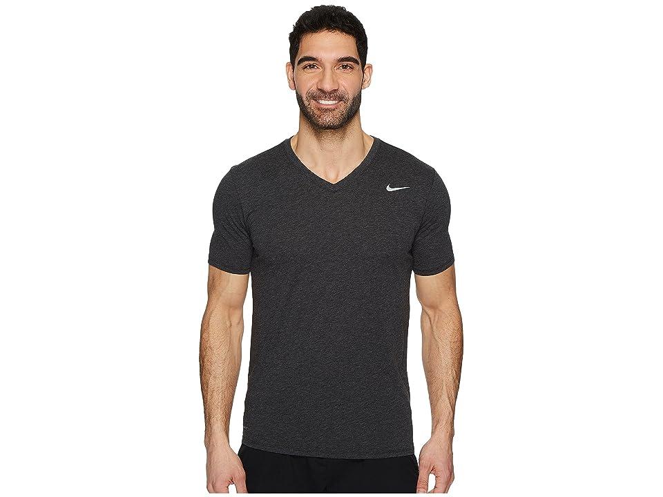 Nike Dry Training V-Neck T-Shirt (Black Heather) Men