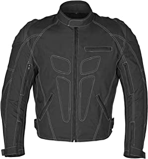 WICKED STOCK Men Four Season Motorcycle Textile Race Jacket WaterProof Black CE Protection (L)