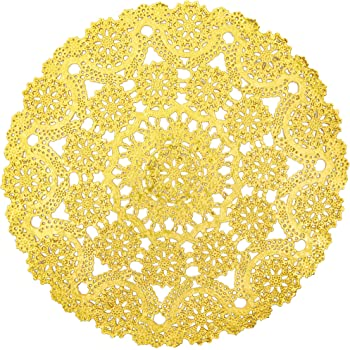 Gold Round Medallion Paper Lace Doilies (12 in, 60 Pack)