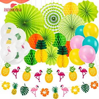 PAPAMOONA Hawaiian Luau Beach Party Decorations SET with 12 Tropical Pineapple Flamingo Banner Balloons Hanging Paper Fans