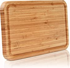 """Bamboo Cutting Board with Juice Groove - Convenient Size 8""""x13""""   Extra Thick Board   Serving Tray   Food Plating"""