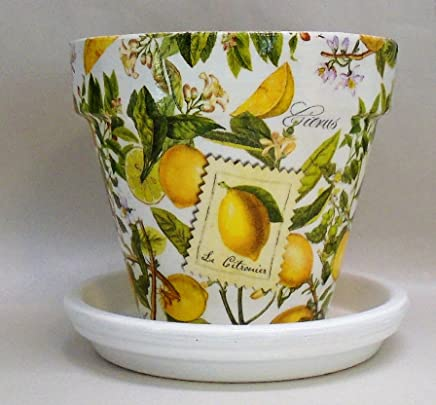 Handmade Decoupage Terra Cotta Clay Pot, Lemons, Citrus, 6""