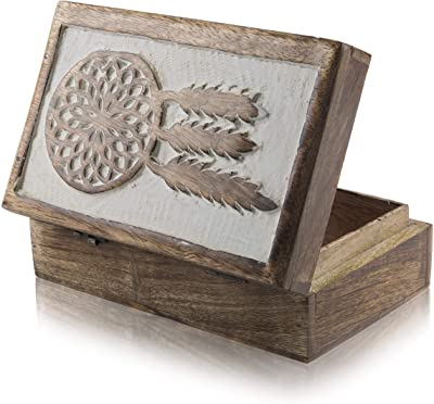 Great Birthday Gift Ideas Handmade Decorative Dream Catcher Jewelry Box Treasure Box Jewelry Organizer Keepsake Box Treasure Chest Trinket Holder Lock Box Watch Box 8 x 5 Inch Her