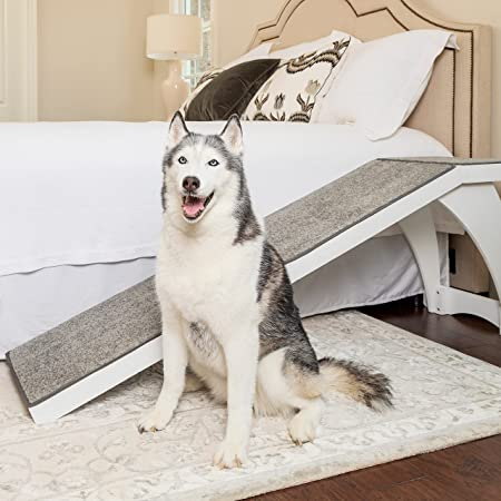 PetSafe CozyUp Bed Ramp for Dogs and Cats - Durable Frame Supports up to 120lb - Furniture Grade Wood Pet Ramp with Cherry or White Finish - High-Traction Carpet Surface – Great for Older Animals