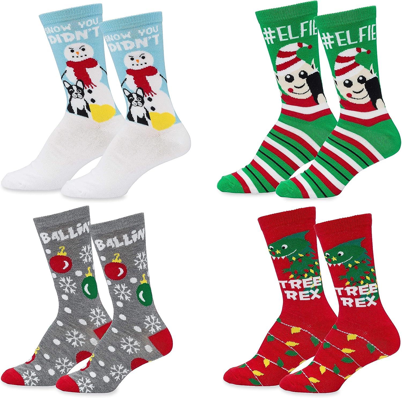 Mens Womens Fun store Novelty Holiday Max 46% OFF Socks- Hanukkah Crew Christmas