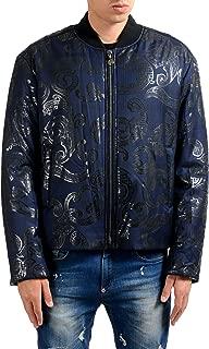 Men's 100% Wool Designed Bomber Parka Jacket US M IT 50 Blue