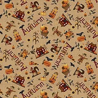 Buttermilk Autumn Tan Novelty Toss by Stacy West Buttermilk Basin from Henry Glass 100% Cotton Quilt Fabric 2273-34