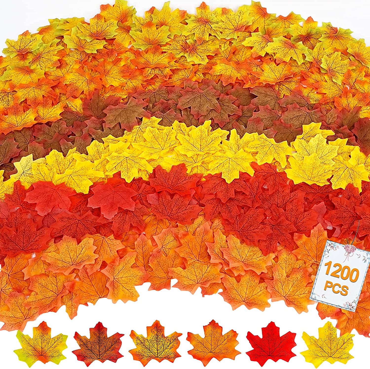 TURNMEON 1200 Pcs Fall Artificial Maple Leaves Decorations with 6 Mixed Colors Fake Faux Autumn Leaf for Festival Thanksgiving Fall Harvest Home Decorations Indoor Outdoor Wedding Party Table Decor
