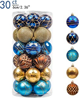Valery Madelyn 30ct 60mm Trendy Blue and Gold Shatterproof Christmas Ball Ornaments Decoration,Themed with Tree Skirt(Not Included)
