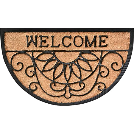 """Calloway Mills 10009 Welcome Scroll Coir and Rubber Heavy-Duty 18"""" X 30"""" Doormat"""
