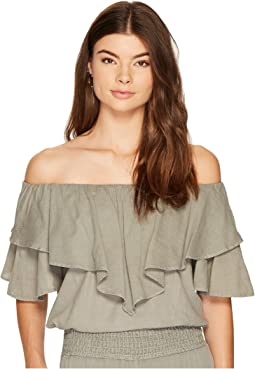 Maria Twill Voile Ruffle Off the Shoulder Top