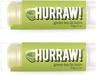 Hurraw! Green Tea Lip Balm, 2 Pack: Organic, Certified Vegan, Cruelty and Gluten Free. Non-GMO, 100% Natural Ingredients. ...
