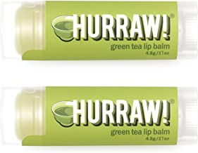 product image for Hurraw! Green Tea Lip Balm, 2 Pack: Organic, Certified Vegan, Cruelty and Gluten Free. Non-GMO, 100% Natural Ingredients. Bee, Shea, Soy and Palm Free. Made in USA