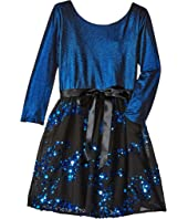 Us Angels 3/4 Sleeve Keyhole Back w/ Full Skirt (Big Kids)