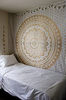 Craft N Craft India Wall Tapestry - Hanging Mandala Tapestries – Bohemian Beach Picnic Blanket – Hippie Decorative & Psychedelic Dorm Decor - 92 x 83 Inch (Gold Queen)