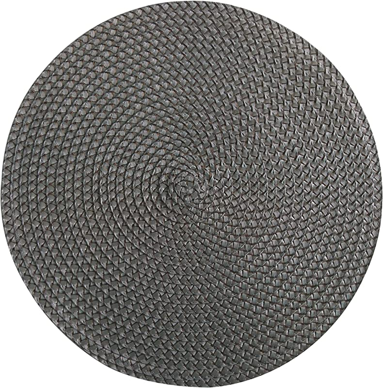 Set Of 12 Pieces Polyproplene Braid Woven Round Placemats Place Mats 15 Inches Gray