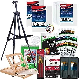 """مجموعه ای از نقاشی اکریلیک لوکس 72 قطعه لوکس ایالات متحده با ، آسانسور کف آلومینیومی ، جداول جداول چوب ، رنگ آکریلیک 24 لوله ، رنگ های آکریلیک 24 عیار ، 9 """"x12"""" بوم های کشیده """"x14"""" ، 34 برس هنرمند ، پالت پلاستیکی با 10 حلقه چاه ، پالت چوبی و اکنون شامل یک چرخ رنگی رایگان - مجموعه بزرگ شروع هنرمند دانشجویی بزرگ"""
