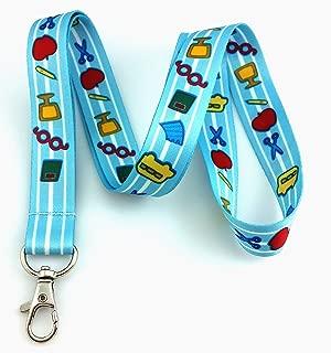 Teacher Print Lanyard Key Chain Id Badge Holder