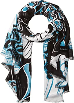 Striped Floral Print Pashmina