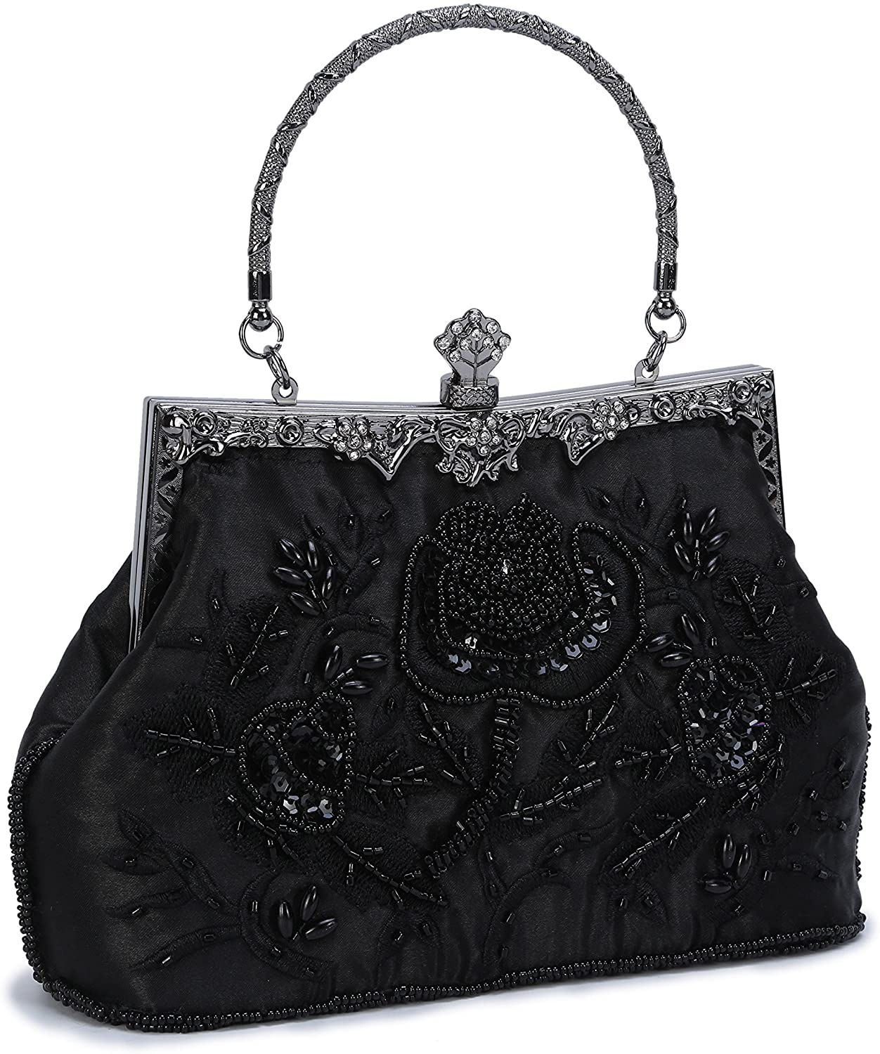 UBORSE Women's Embroidered Beaded Sequin Evening Clutch Large Wedding Party Purse Vintage Bags