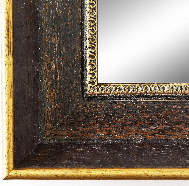 Online Galerie BinGold Wandspiegel Spiegel Badspiegel - Monza 6,7 - Braun Gold - 60 x 80 - Auenma inkl. Massivholz-Rahmen - viele Gren verfügbar - Modern, Barock, Antik, Vintage