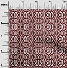 oneOone Velvet Dark Red Fabric Floral & Tiles Moroccan Fabric for Sewing Printed Craft Fabric by The Yard 58 Inch Wide