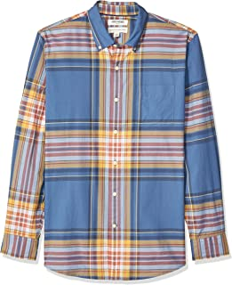 Goodthreads Amazon Brand Men's Standard-Fit Long-Sleeve Lightweight Madras Plaid Shirt