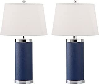 Safavieh Lighting Collection Leather Column Navy 26-inch Table Lamp (Set of 2)