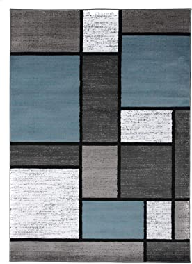 "Contemporary Modern Boxes Area Rug 5' 3"" X 7' 3"" Blue/Gray"