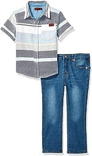 7 For All Mankind Boys' Toddler Sleeve Multi Stripe Sport Shirt and Denim Short Set