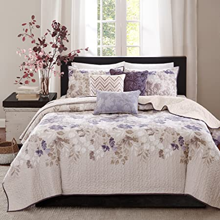 """Madison Park Quilt Modern Classic Design All Season, Breathable Coverlet Bedspread Lightweight Bedding Set, Matching Shams, Decorative Pillow, Full/Queen(90""""x90""""), Luna, Floral Taupe, 6 Piece"""