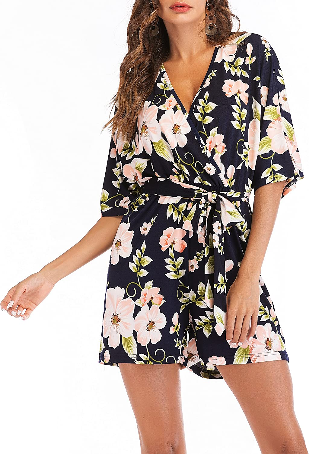 SUNNOW Women's Short Romper Jumpsuit Sexy V Neck Solid Or Floral Printed 3 4 Sleeves Backless